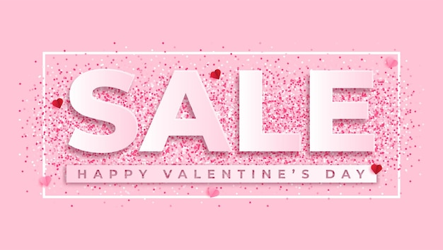 Valentines day sale background in paper style