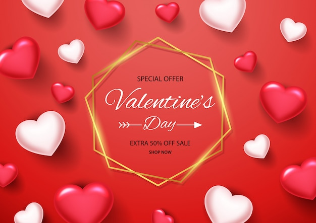 Valentines day sale background with golden border