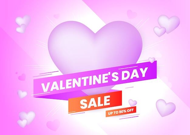 마음과 보라색과 빨간색 그라데이션 리본 발렌타인 데이 판매 배경. 웹사이트 배너, 전단지, 초대장, 포스터, 브로셔 또는 판촉 자료에 대한 발렌타인 데이 배경.