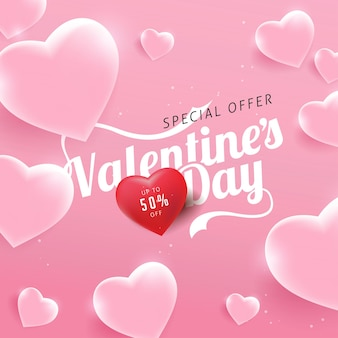Valentines day sale background with heart shaped glass