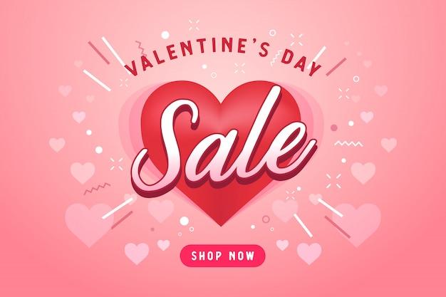 심장 모양의 발렌타인 판매 배경입니다.