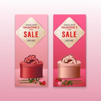 Valentines day sale backgrounds banner set