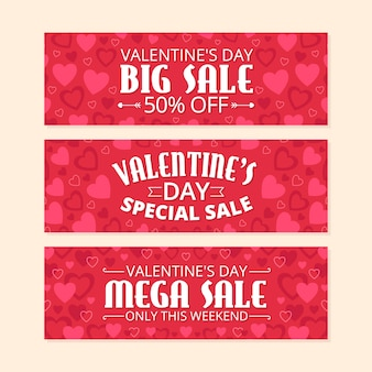Valentines day sale banner collection