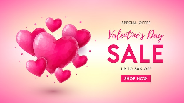 Valentines day sale banner concept with pink crystal hearts, text and button shop now on colorful gradient background.