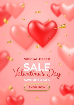 Valentines day sale banner. couple realistic 3d red and pink heart shaped balloons pierced by cupids golden arrow and confetti.