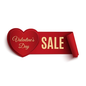발렌타인 데이 판매 배너, 흰색 배경에 고립.