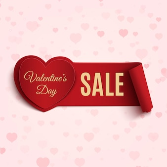 Valentines day sale banner, on pink background with hearts.