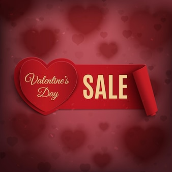 Valentines day sale banner on red background with blurred hearts