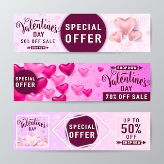 Valentines day sale banner set with heart balloons, rhombus line and round frame and lettering text
