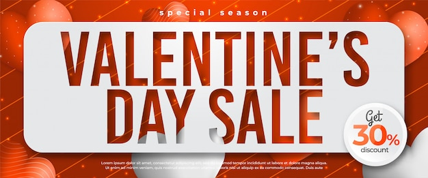 Valentines day sale banner template for social media promotion in red background landscape