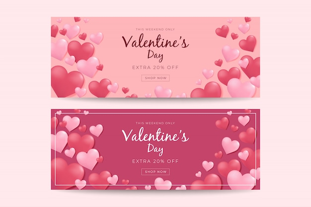 Valentines day sale banner template.