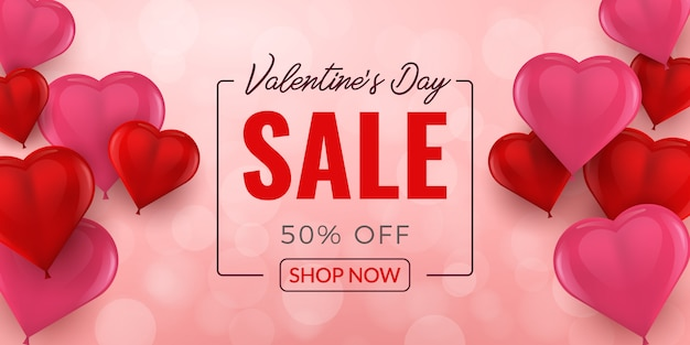 Valentines day sale banner with 3d balloons heart