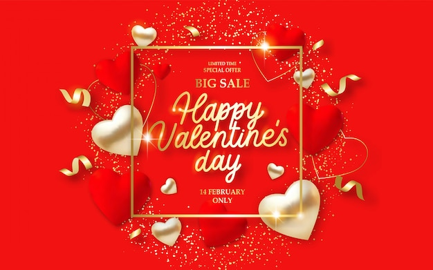 Valentines day sale banner with 3d red hearts, lights and text