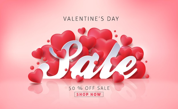 Valentines day sale banner with heart shape balloon