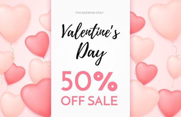 Valentines day sale banner with heart shaped balloons and golden confetti. discount offer