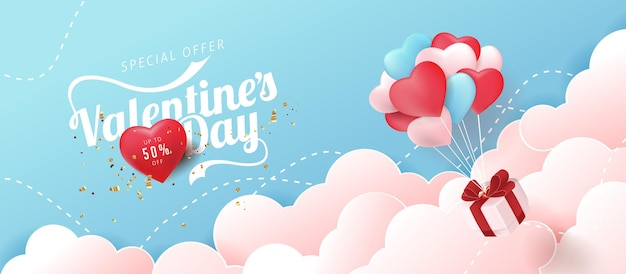 Valentines day sale banner with heart shaped balloons