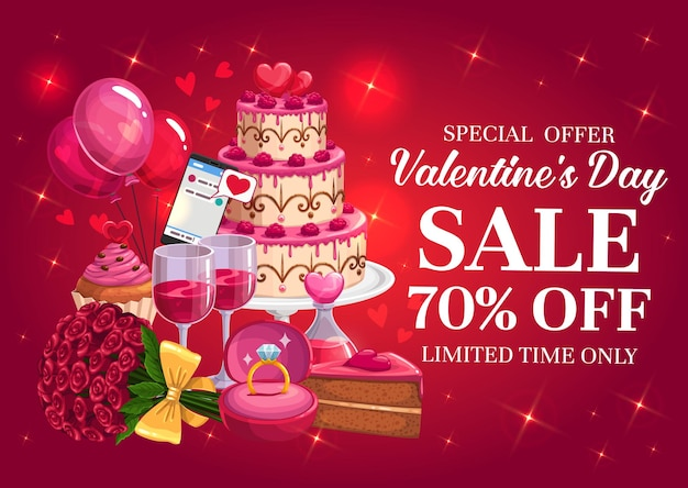 Valentines day sale banner with hearts and gifts
