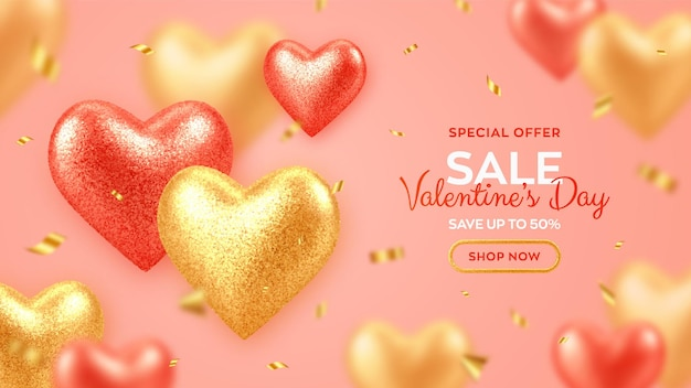 Valentines day sale banner with shining realistic red and gold 3d balloons hearts with glitter texture and confetti.