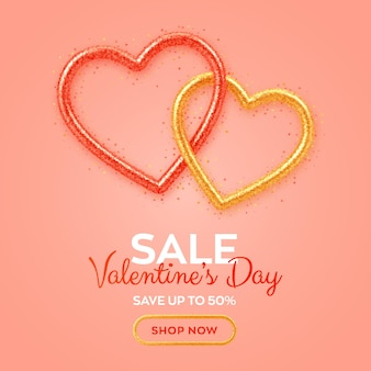 Valentines day sale banner with shining realistic red and gold 3d hearts with glitter texture and heart shaped confetti.