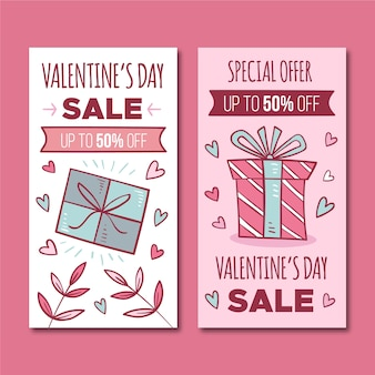 Valentines day sale banners concept
