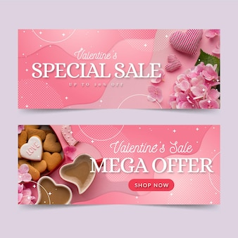 Valentines day sale banners template