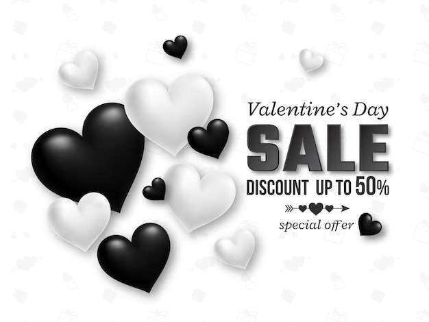 Valentines day sale black and white 3d hearts.