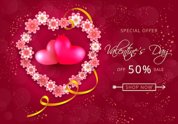 Valentines day sale card in form of heart from paper-cut flowers on pink