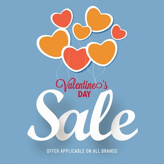 Valentines day sale concept with paper hearts on skyblue background. Premium Vector