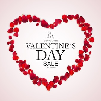 Valentines day sale, discount card with rose petals.