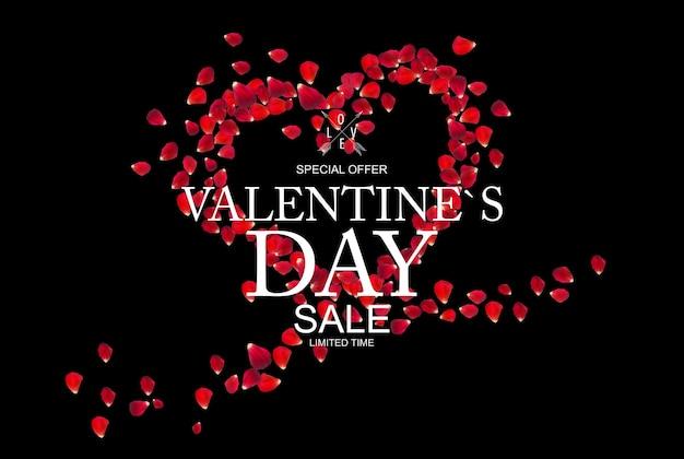 발렌타인 데이 판매, 장미 꽃잎 할인 카드.