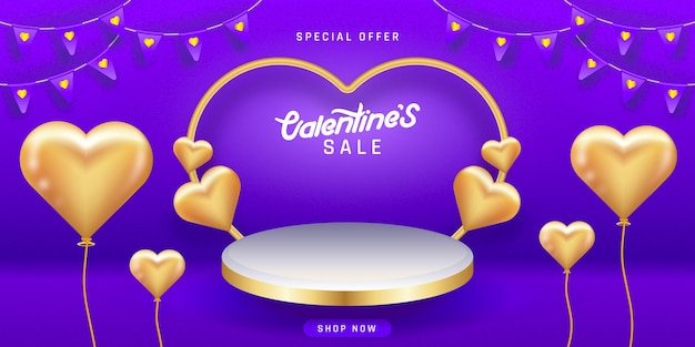 발렌타인 데이 판매. 연단, 받침대 또는 플랫폼이 비어 있습니다.