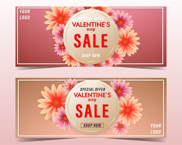 Valentines day sale flowers backgrounds banner set
