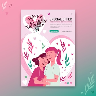 Valentines day sale flyer template