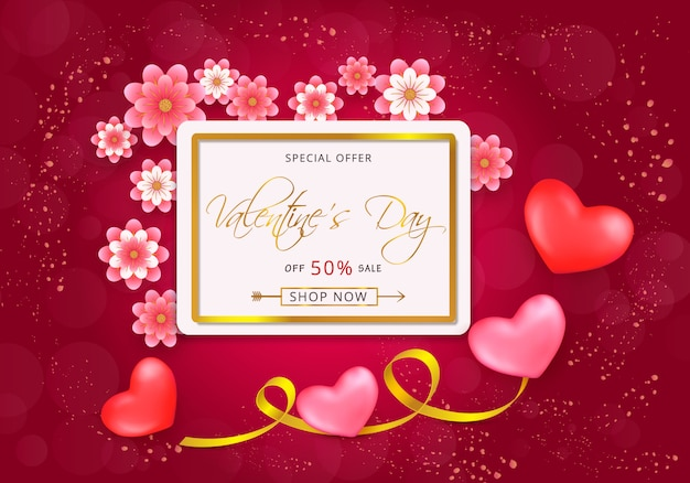 Valentines day sale gift card with paper-cut pink flowers and gold border frame on pink