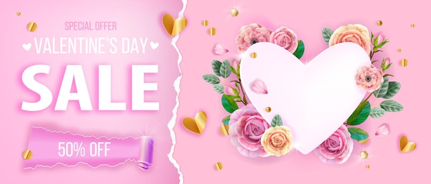 バレンタインデーセールハートは、花、バラ、花の花輪、金色の紙吹雪とピンクの背景が大好きです。ロマンチックな休日のエレガントなギフト割引バナー。バレンタインデー2月の装飾の背景