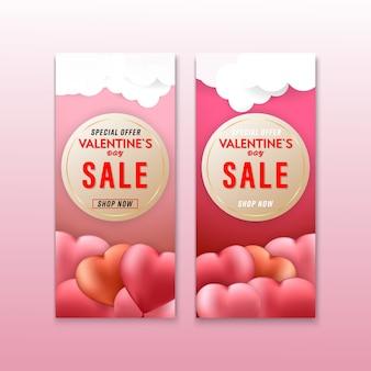 Valentines day sale hearts background banner set
