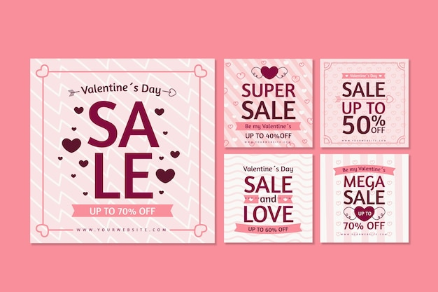 발렌타인 데이 세일 인스 타 그램 포스트 컬렉션