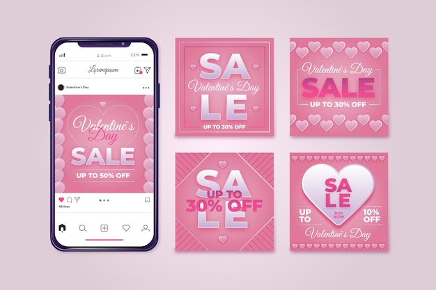 Valentines day sale instagram post pack