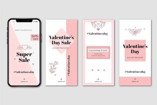 Valentines day sale instagram story set