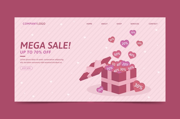Valentines day sale landing page template