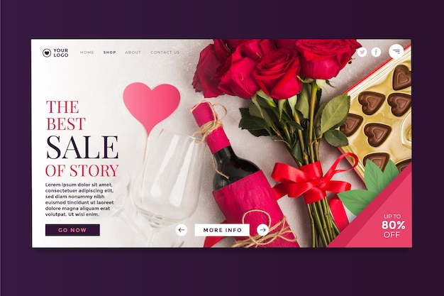 Valentines day sale landing page