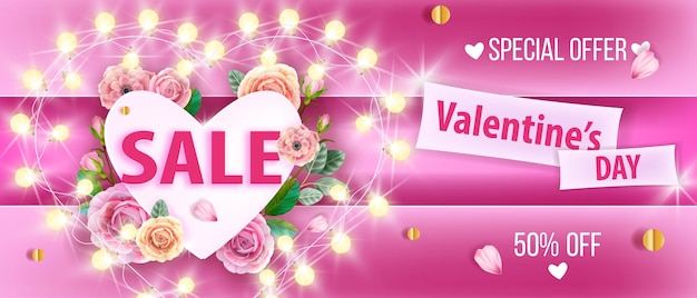 Valentines day sale love  pink background with heart, flowers, roses, garland lights, petals. holiday romantic discount promo special offer banner. valentines day or women day floral background