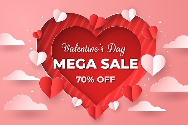 Valentines day sale in paper style