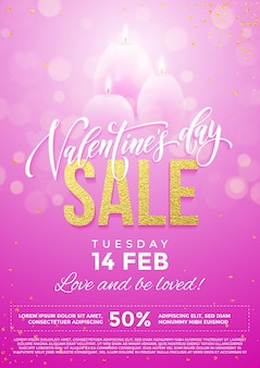 핑크 하트와 프리미엄 반짝이 스파클링 조명 배경에 촛불의 발렌타인 데이 판매 포스터