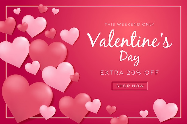 Valentines day sale poster with 3d hearts.