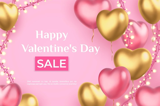 Valentines day sale poster with heart balloons and garland lights. 3d realistic love holiday pink and golden hearts, discount vector banner. shop or store promotional offer, romantic event