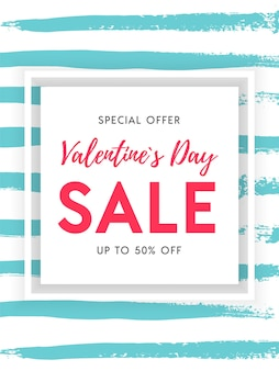 Valentines day sale shopping banner template on striped brushstroke hand drawn  background