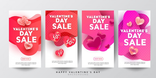 Valentines day sale story collection concept with liquid gradient color shape