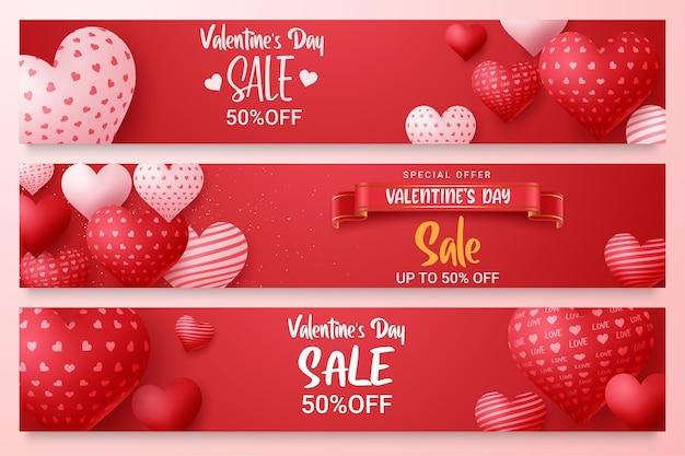 День святого валентина продажа вектор баннер шаблон