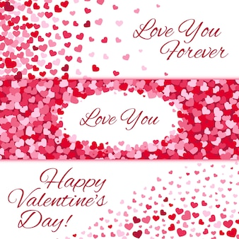 Valentines day sale vector love banners set